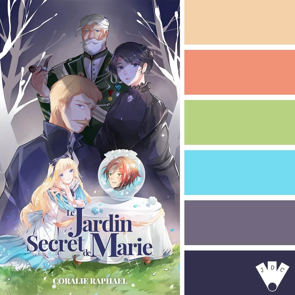 """Color palette du livre """"Le jardin secret de Marie"""" de l'auteure auto-édité Coralie Raphael"""