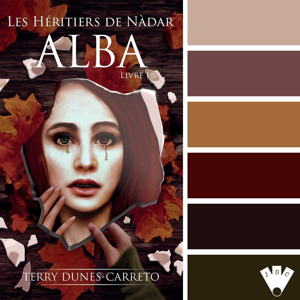 """Color palette du livre """"Les héritiers de Nàdar Livre 1 : Alba"""" de l'auteure auto-édité Terry Dunes-Carreto"""