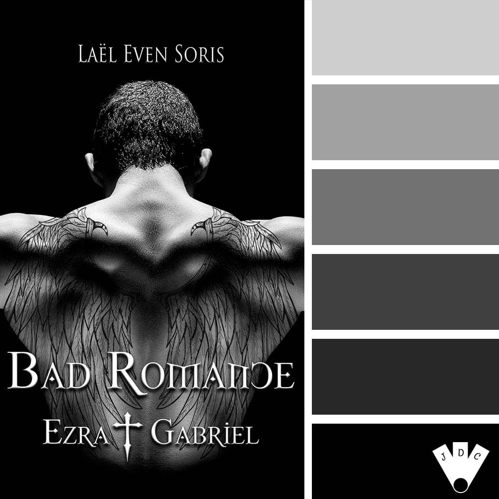 """Color palette du livre """"Bad romance : Ezra et Gabriel"""" de l'auteure auto-édité Laël Even Soris"""