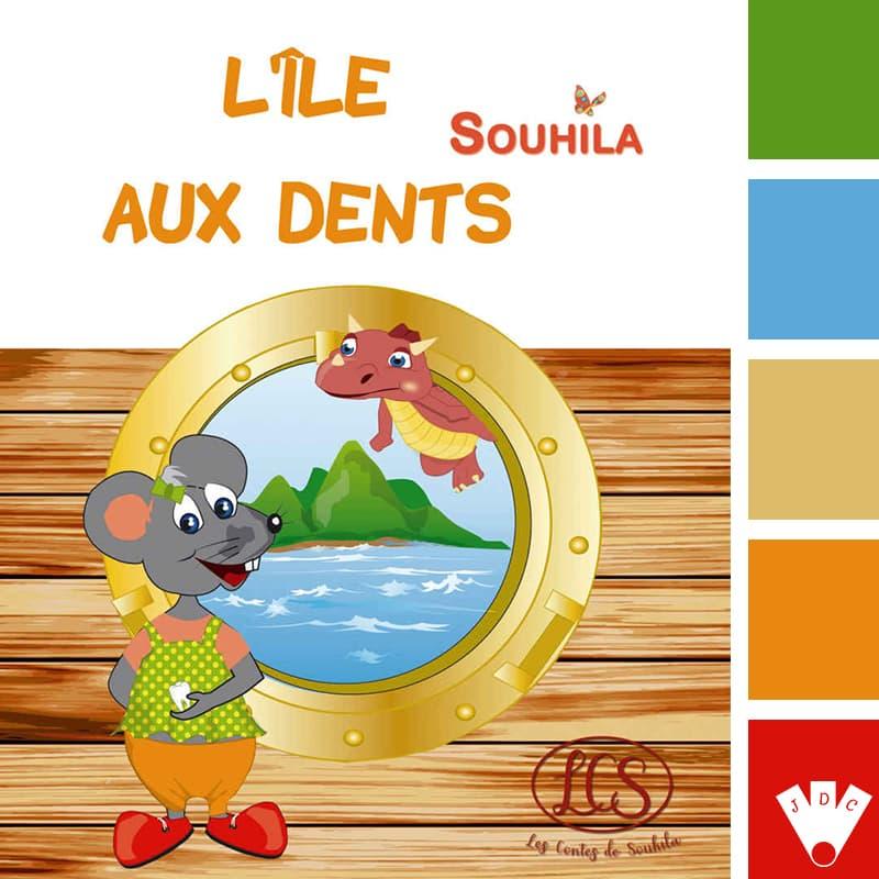 """Color palette du livre """"L'île aux dents"""" de l'auteure Souhila Chidiac"""