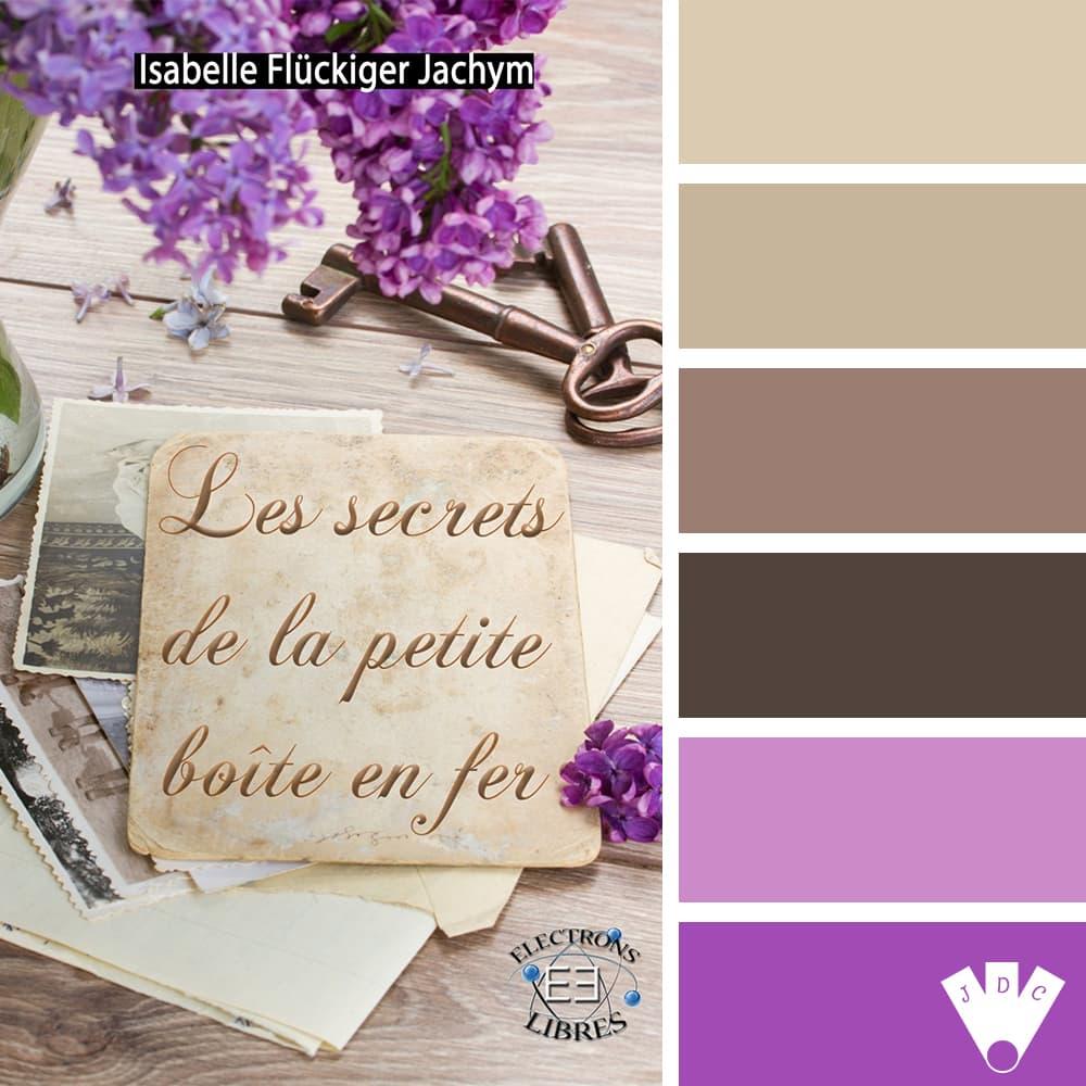 """Color palette du livre """"Les secrets de la petite boite en fer"""" de l'auteure Isabelle Flückiger Jachym"""