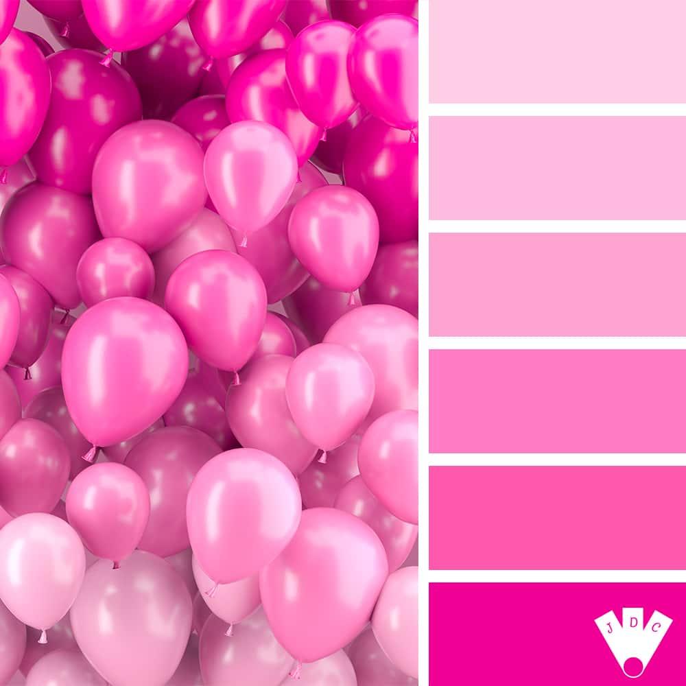 Color palette d'une photo de plusieurs ballons dans les tons rose