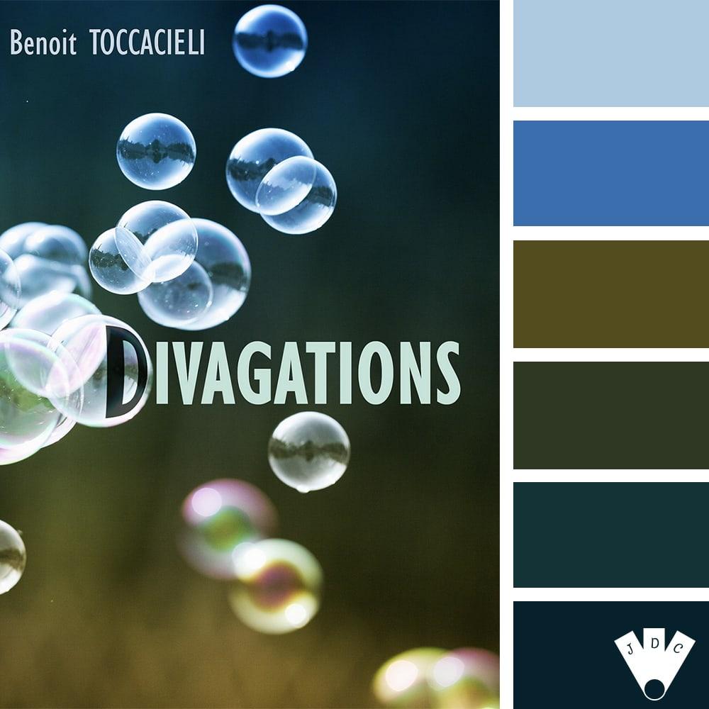 """Color palette du livre """"Divagations"""" de l'auteur Benoit Toccacieli"""