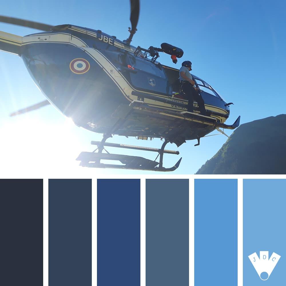 Color palette d'une photo d'un hélicoptère de la gendarmerie. Photographe Captain Flam.