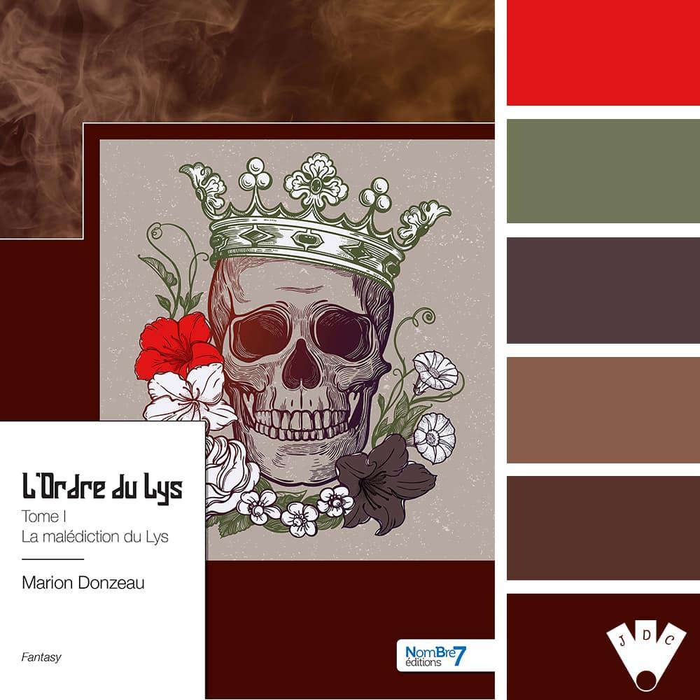 """Color palette du livre """"L'ordre du Lys T1 : La malédiction du Lys"""" de l'auteure Marion Donzeau"""