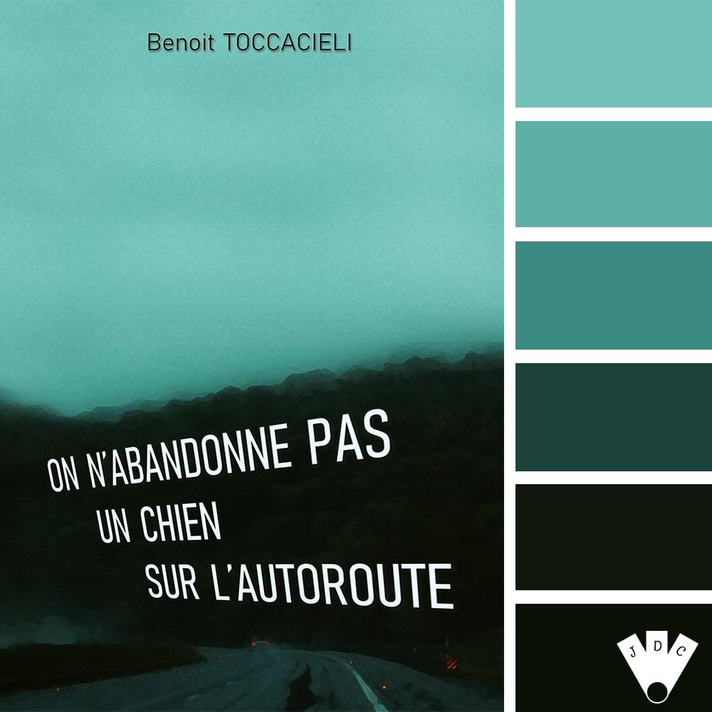 """Color palette du livre """"On n'abandonne pas un chien sur l'autoroute"""" de l'auteur Benoit Toccacieli"""