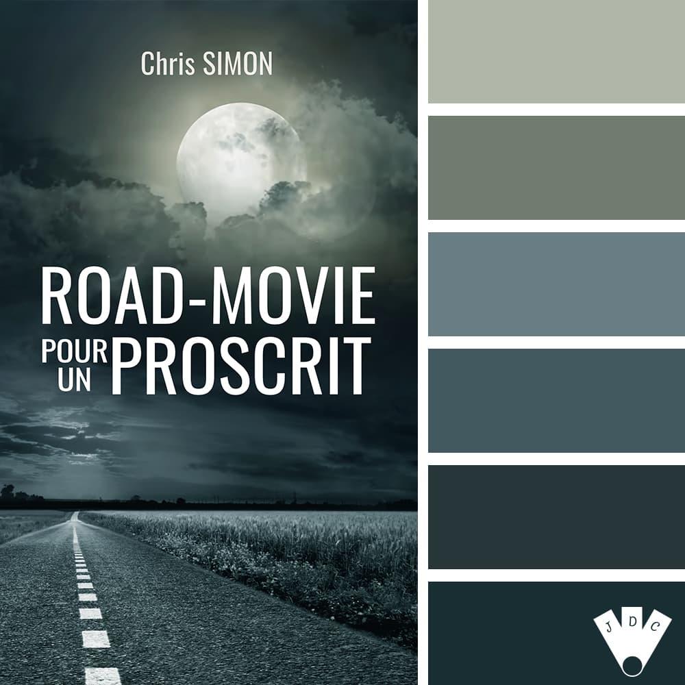 """Color palette du livre """"Road-movie pour un proscrit"""" de l'auteur Chris Simon"""