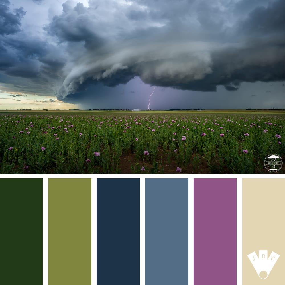 Color palette à partir d'une photo d'une orage dans le centre de la France par Xavier Delorme - Temps d'orages
