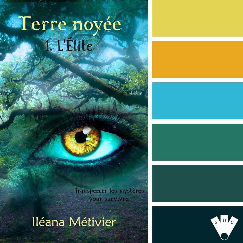 """Color palette du livre """"Terre noyée T1 : L'élite"""" de l'auteure Iléana Métivier"""