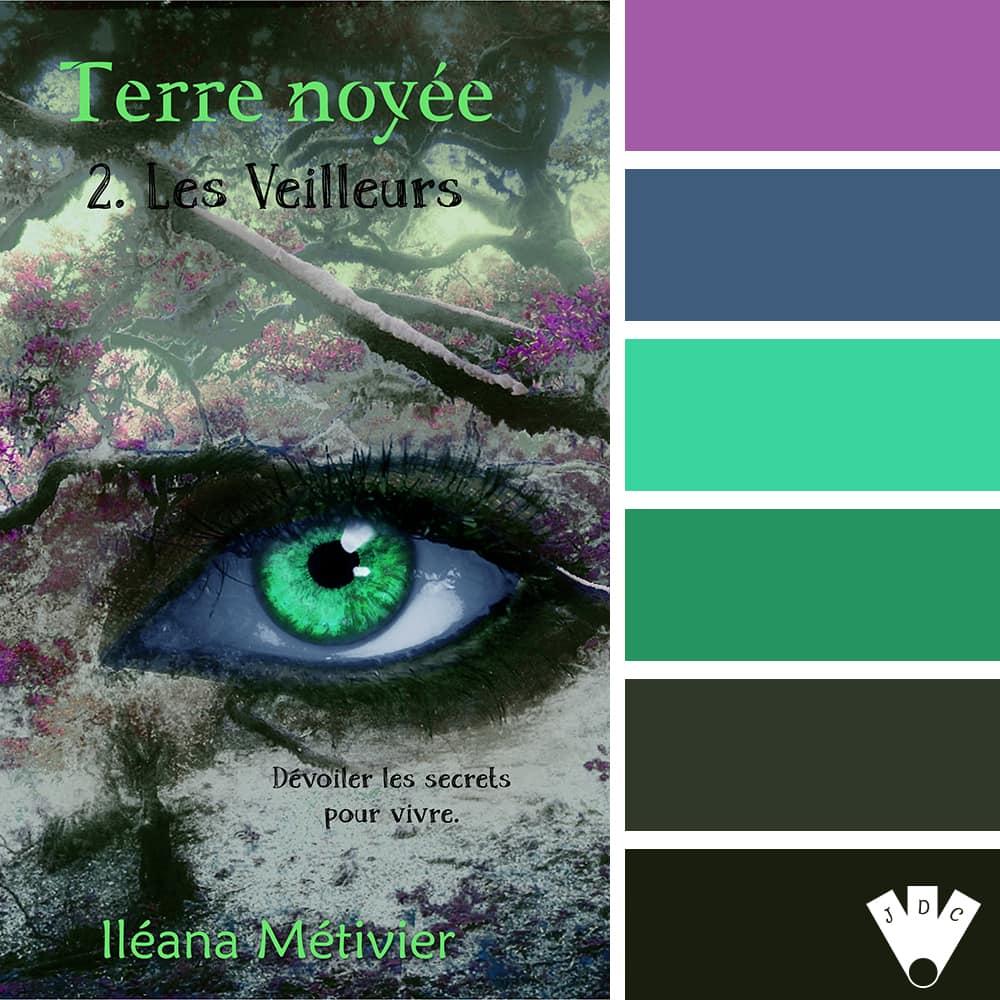 """Color palette du livre """"Terre noyée T2 : Les veilleurs"""" de l'auteure Iléana Métivier"""