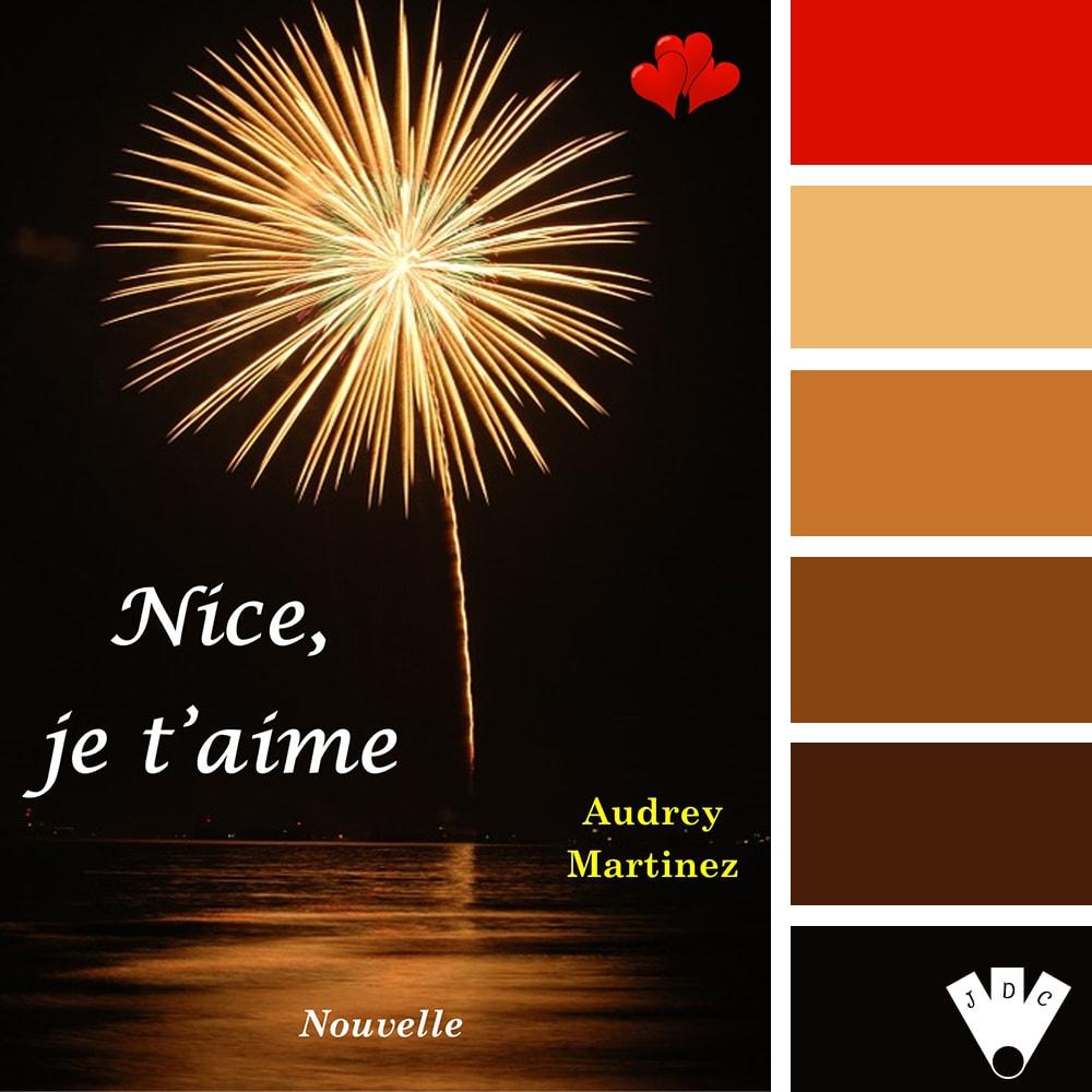 """Color palette littéraire à partir de la couverture du livre """"Nice, je t'aime"""" de l'auteure Audrey Martinez"""