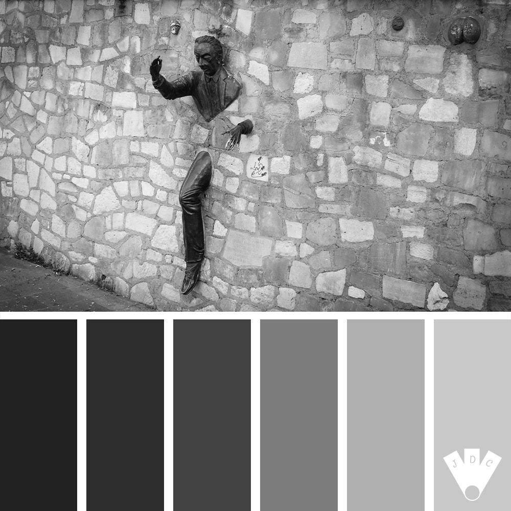 Color palette à partir d'une photo du passe-muraille à Montmartre par la photographe Callistta Photographie