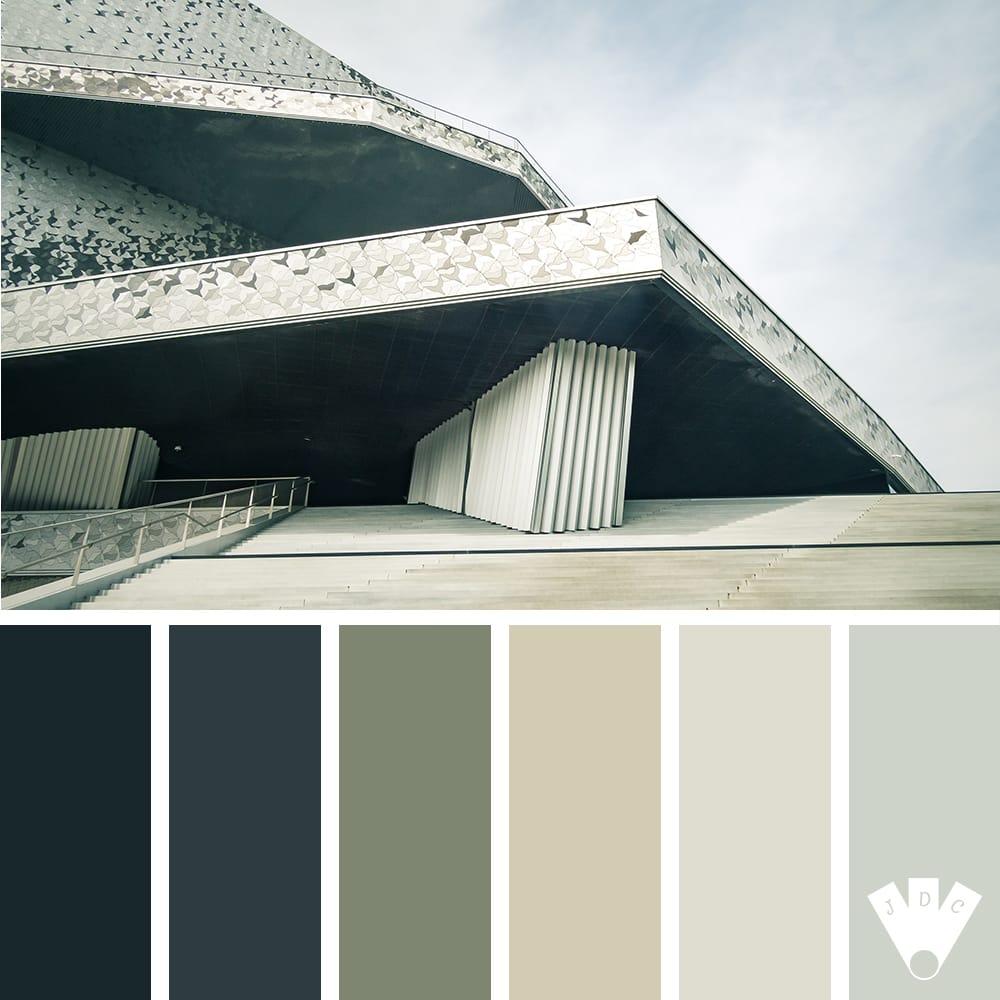 Color palette à partir d'une photo de la Philarmonie de Paris par la photographe Callistta Photographie