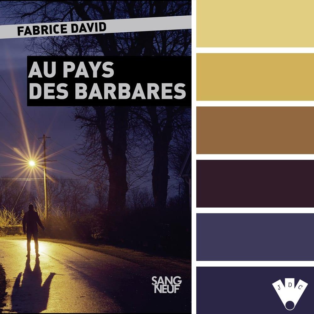 """Color palette à partir de la couverture du livre """"Au pays des barbares"""" de l'auteur Fabrice David"""