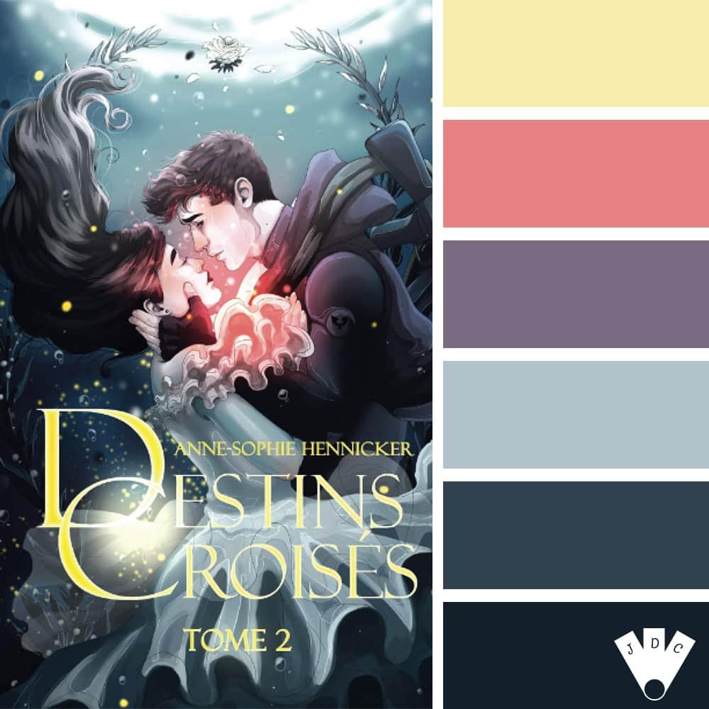 """Color palette à partir de la couverture du livre """"Destins croisés T2"""" de l'auteure Anne-Sophie Hennicker"""