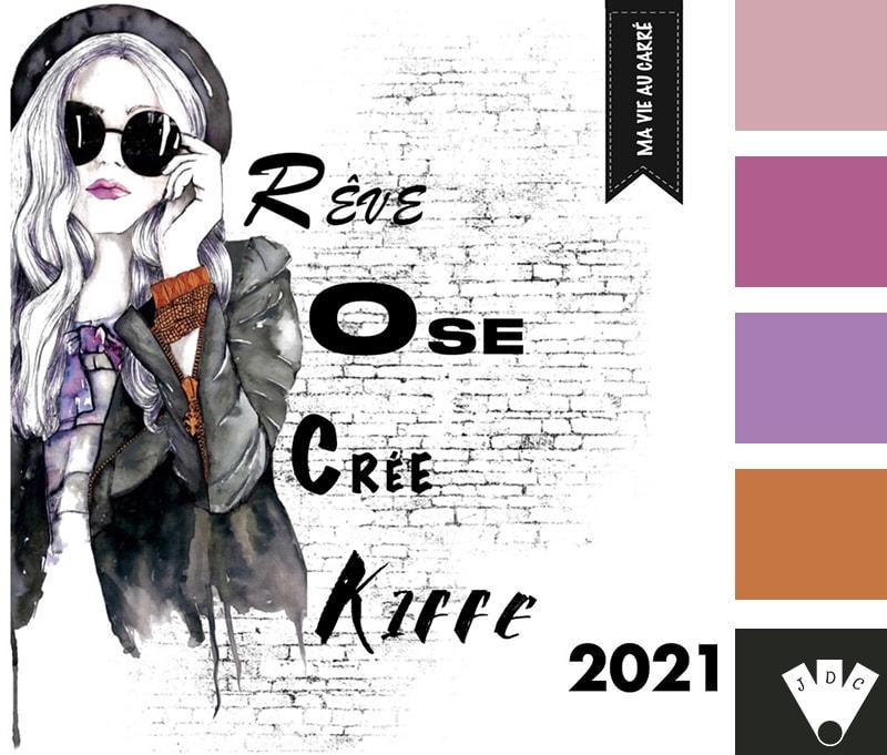"""Color palette à partir de la couverture du livre 'Ma vie au carré 2021"""" par Julia Galindo."""