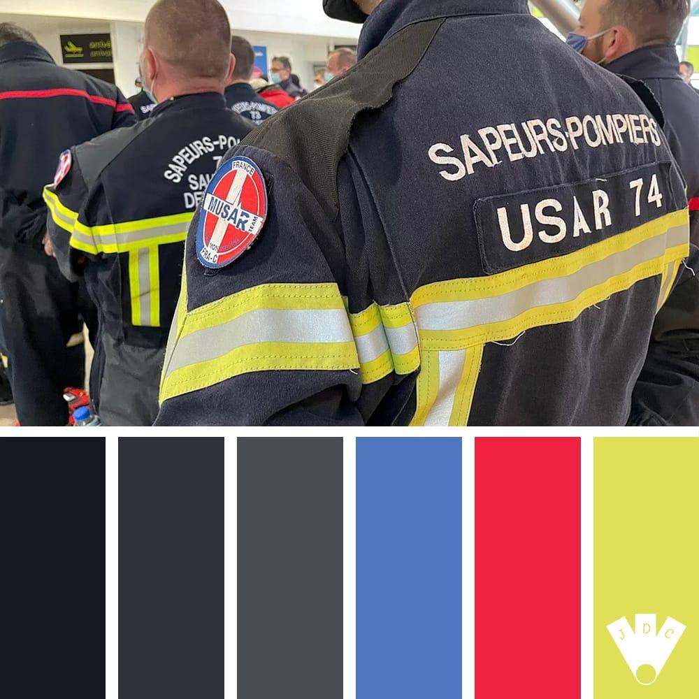 Color palette à partir d'une photo du projet MUSAR Savoie Mont-Blanc. Photo faite par un pompier du projet.