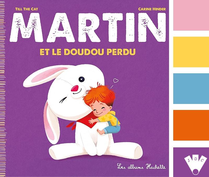 """Color palette à partir de la couverture du livre 'Martin et le doudou perdu"""" par Till the Cat"""