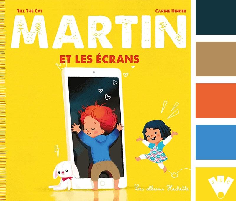 """Color palette à partir de la couverture du livre 'Martin et les écrans"""" par Till the Cat"""
