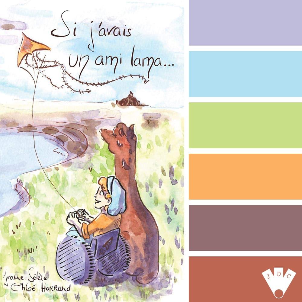 """Color palette à partir de la couverture du livre """"Si j'avais un ami lama..."""" de l'auteure Jeanne Sélène."""