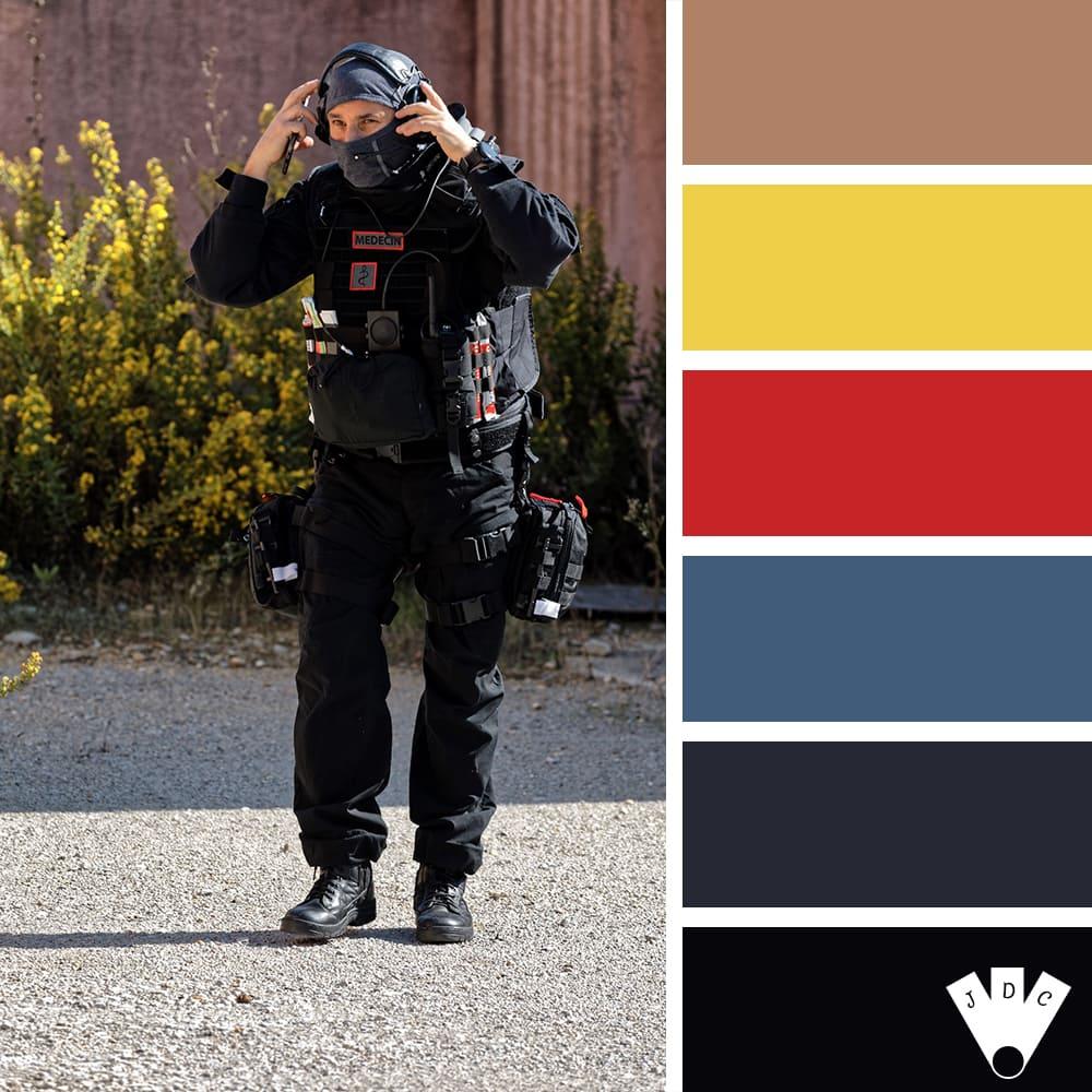 Color palette à partir d'une photo d'un médecin du RAID par le photographe Stéphane Bommert