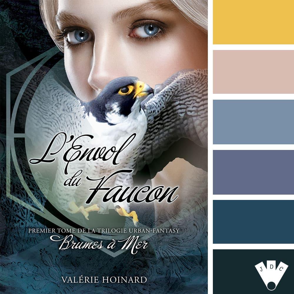 """Color palette à partir de la couverture du livre """"Brumes à la mer T1 : L'envol du faucon"""" de l'autrice Valérie Hoinard"""