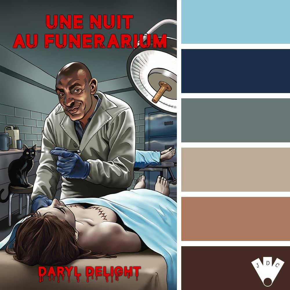 """Color palette à partir de la couverture du livre """"Une nuit au funérarium"""" de l'auteur Daryl Delight."""